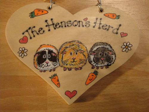 Heart Shaped Wooden Guinea Pig Hutch Run Garden or Bedroom Sign Personalised up to 3 characters Any Colours